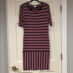 LuLaRoe pink, black, & white Julia dress L NWT
